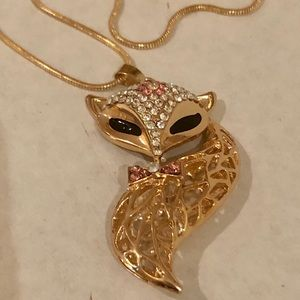 Gold Fox Rhinestone Necklace with Chain